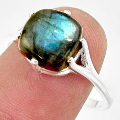925 silver 3.98cts natural blue labradorite solitaire ring jewelry size 9 r35878