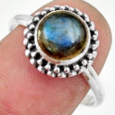 925 silver 3.12cts natural blue labradorite solitaire ring jewelry size 9 r41398