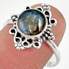 925 silver 2.88cts natural blue labradorite solitaire ring jewelry size 9 r41494