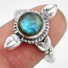 925 silver 3.29cts natural blue labradorite solitaire ring jewelry size 9 r41595