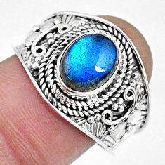 925 silver 3.01cts natural blue labradorite solitaire ring jewelry size 9 r57951