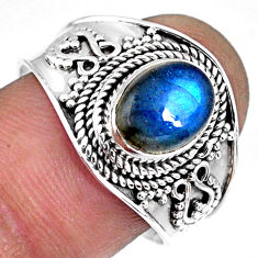 925 silver 3.12cts natural blue labradorite solitaire ring jewelry size 9 r57959