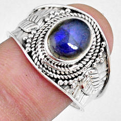 925 silver 3.01cts natural blue labradorite solitaire ring jewelry size 9 r58328