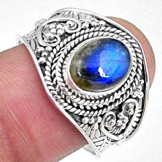 925 silver 3.43cts natural blue labradorite solitaire ring jewelry size 9 r58559