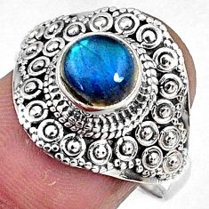 925 silver 2.31cts natural blue labradorite solitaire ring jewelry size 9 r61054