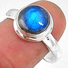 925 silver 4.82cts natural blue labradorite solitaire ring jewelry size 9 r66379