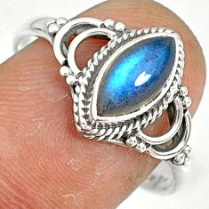 925 silver 2.72cts natural blue labradorite solitaire ring jewelry size 9 r78898