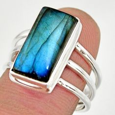 925 silver 6.83cts natural blue labradorite solitaire ring size 7.5 r27131