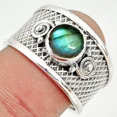 925 silver 2.33cts natural blue labradorite solitaire ring size 7.5 r34677