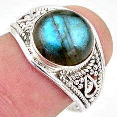 925 silver 4.62cts natural blue labradorite solitaire ring size 7.5 r35436