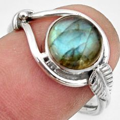 925 silver 2.97cts natural blue labradorite solitaire ring size 7.5 r41552