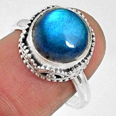 925 silver 5.87cts natural blue labradorite solitaire ring size 7.5 r66410