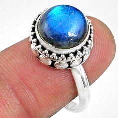 925 silver 11.63cts natural blue labradorite solitaire ring size 7.5 r66415