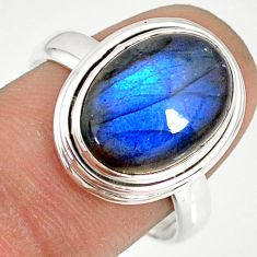 925 silver 6.02cts natural blue labradorite solitaire ring size 8.5 r77648