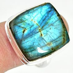 925 silver 19.45cts natural blue labradorite solitaire ring size 9 r26176
