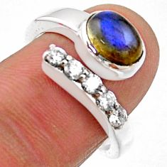 925 silver 3.91cts natural blue labradorite topaz adjustable ring size 7 r54574