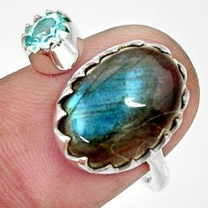 925 silver 7.60cts natural blue labradorite topaz adjustable ring size 8 r33368
