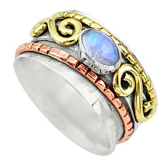 925 silver 0.88cts natural blue labradorite two tone spinner ring size 7 t12644