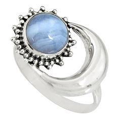 925 silver 3.29cts natural blue lace agate half moon ring jewelry size 7 r19544