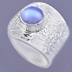 925 silver 3.14cts natural blue lace agate round adjustable ring size 8 r54879