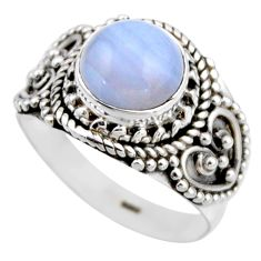 925 silver 3.02cts natural blue lace agate round solitaire ring size 6.5 r53472