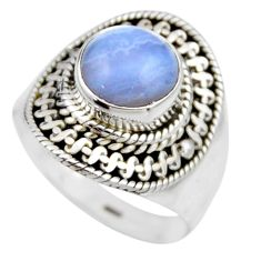 925 silver 3.01cts natural blue lace agate solitaire ring jewelry size 6 r53480