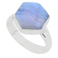 925 silver 6.04cts natural blue lace agate solitaire ring jewelry size 6 r96864