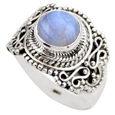 925 silver 3.28cts natural blue lace agate solitaire ring jewelry size 8 r53476