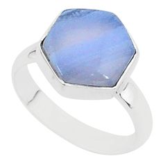 925 silver 6.39cts natural blue lace agate solitaire ring jewelry size 8 r96874