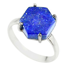 925 silver 4.86cts natural blue lapis lazuli fancy solitaire ring size 6 r81912