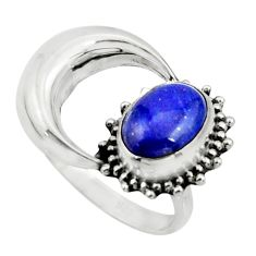 925 silver 3.26cts natural blue lapis lazuli oval half moon ring size 7 r26747