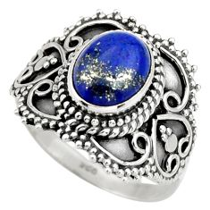 925 silver 3.34cts natural blue lapis lazuli oval solitaire ring size 7.5 r26948