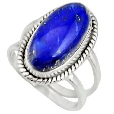 925 silver 6.57cts natural blue lapis lazuli oval solitaire ring size 7.5 r27144