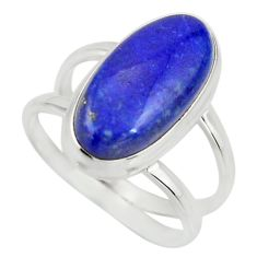 925 silver 6.48cts natural blue lapis lazuli oval solitaire ring size 8.5 r27158