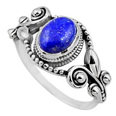 925 silver 1.94cts natural blue lapis lazuli oval solitaire ring size 7.5 r54532