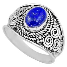 925 silver 2.05cts natural blue lapis lazuli oval solitaire ring size 7.5 r58604