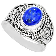 925 silver 3.01cts natural blue lapis lazuli oval solitaire ring size 7.5 r74704