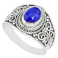925 silver 2.01cts natural blue lapis lazuli oval solitaire ring size 7.5 r81437