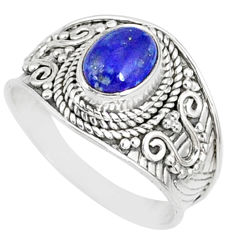 925 silver 2.01cts natural blue lapis lazuli oval solitaire ring size 8.5 r81440