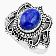 925 silver 3.01cts natural blue lapis lazuli oval solitaire ring size 7 r26792