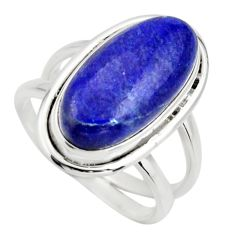 925 silver 7.07cts natural blue lapis lazuli oval solitaire ring size 7 r27148