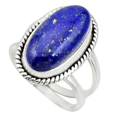 925 silver 6.76cts natural blue lapis lazuli oval solitaire ring size 7 r27152