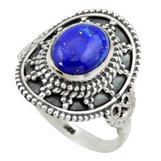 925 silver 3.36cts natural blue lapis lazuli oval solitaire ring size 7 r40494