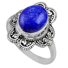 925 silver 4.22cts natural blue lapis lazuli oval solitaire ring size 7 r54495