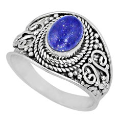 925 silver 2.13cts natural blue lapis lazuli oval solitaire ring size 7 r57973