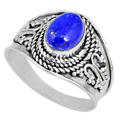 925 silver 1.96cts natural blue lapis lazuli oval solitaire ring size 7 r58639