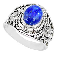 925 silver 3.02cts natural blue lapis lazuli oval solitaire ring size 7 r74683