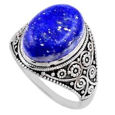 925 silver 6.58cts natural blue lapis lazuli oval solitaire ring size 8 r54629