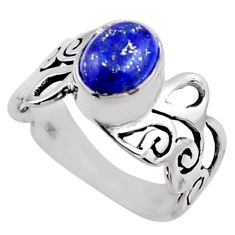 925 silver 3.35cts natural blue lapis lazuli oval solitaire ring size 8 r54693