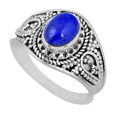 925 silver 1.96cts natural blue lapis lazuli oval solitaire ring size 8 r57976